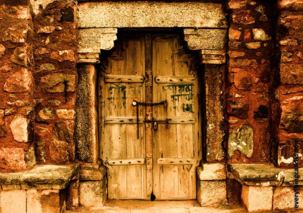 This door must have seen history unfolding before it.  Its captured from Hauz Khas area on New Delhi.  Khilji Dynasty built it and it used to be a place of scholars.
