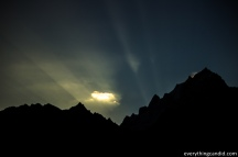 Sun Rise from behind the Kinner Kailash. As seen from Kalpa.