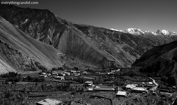 Small village on the bank of River Spiti. Sky line of Spiti Valley comes alive with usch small villages.