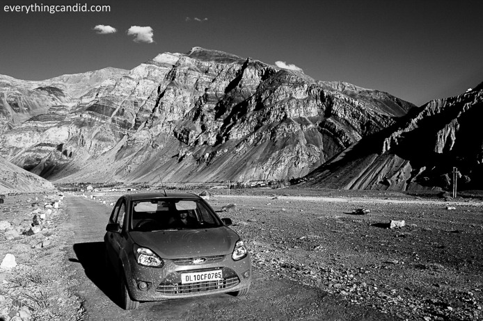 My low-ground-clearance-small-car on the way to Spiti.