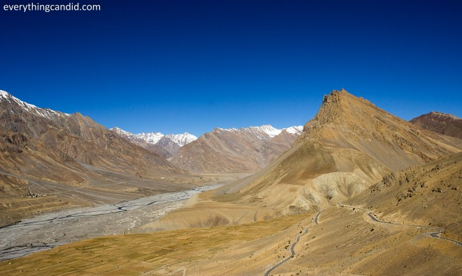Expanse of Spiti Valley from Kaza as we start our road trip to Kunzum