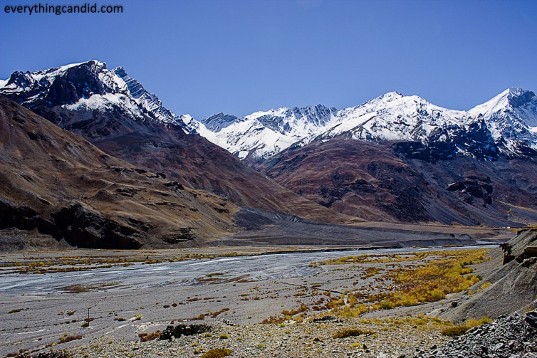 Vibrant and colorful Spiti River Bed