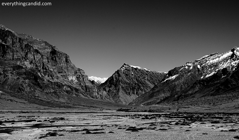 On the way to Kunzum, We almost drove next to river bed of Spiti.