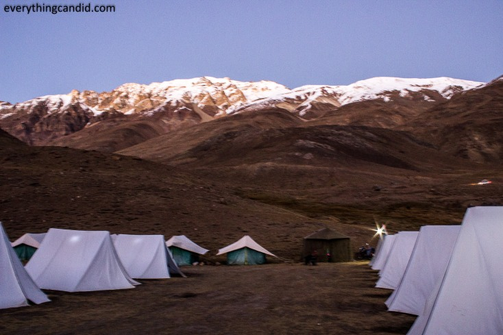 Near Chandratal, we camped at -6 degree temperature!