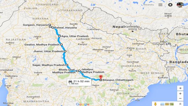 Delhi to Chhattisgarh