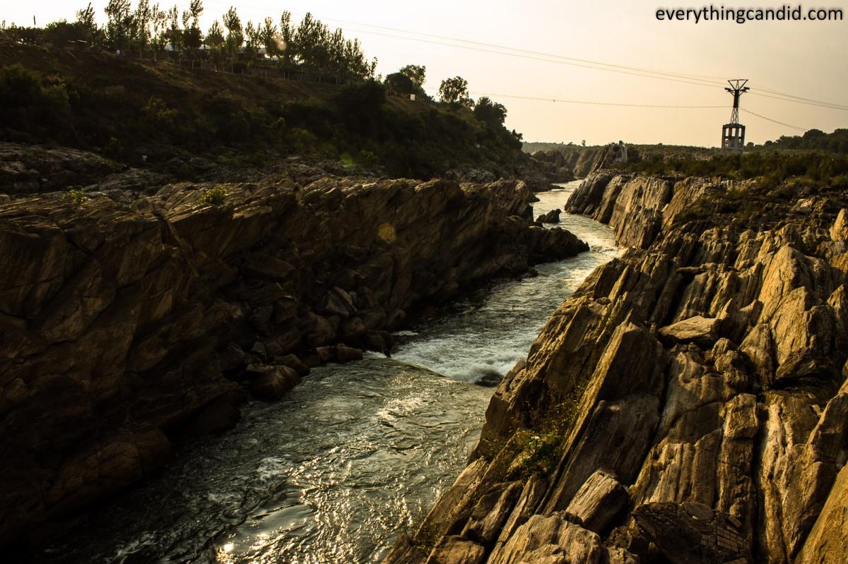 Narmada River in Bhedaghat. Marble rocks.
