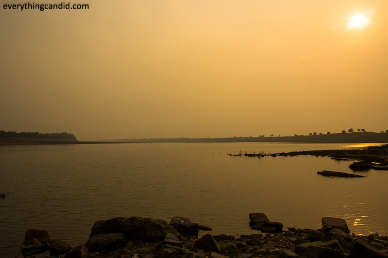 Road trip to Chambal valley near Gwalior and Dholpur. Golden Hour photograph of Chambal river.