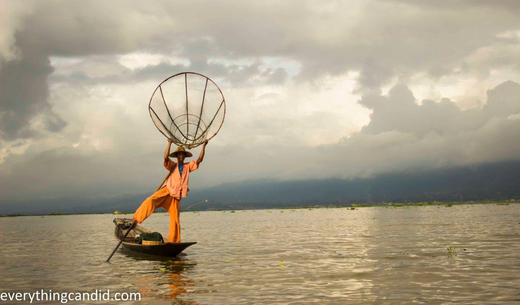 Intha tribe - rowing. fishing. one leg.