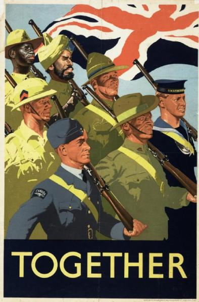 Propaganda poster promoting the joint war effort of the British Empire and Commonwealth, 1939.