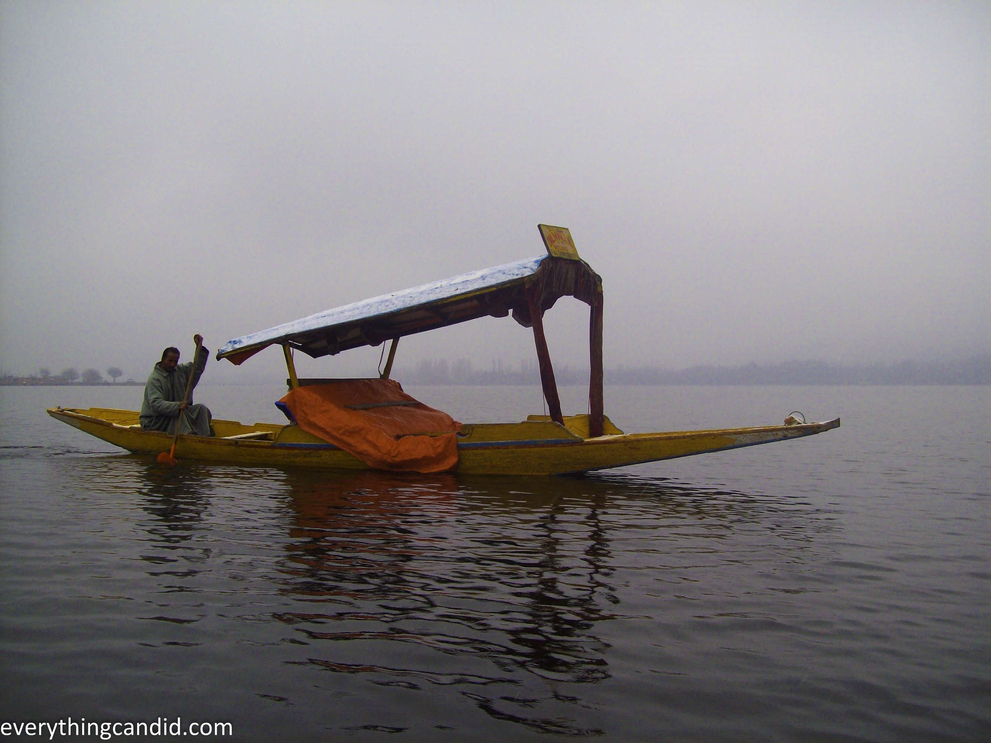 Shikara or Kashmir. Water Taxi on Dal lake.
